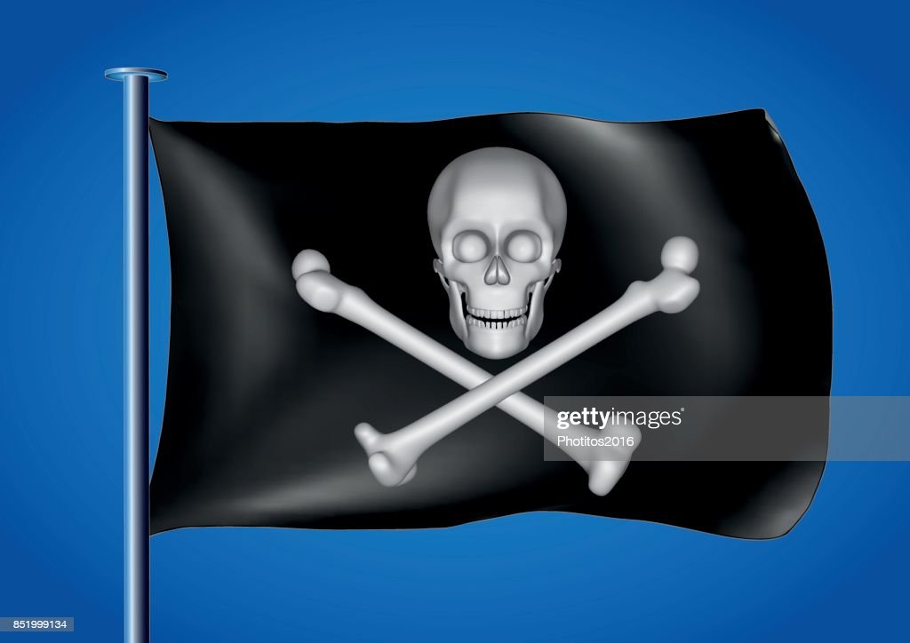 black pirate flag waving on the sky with skull and cross bones in white
