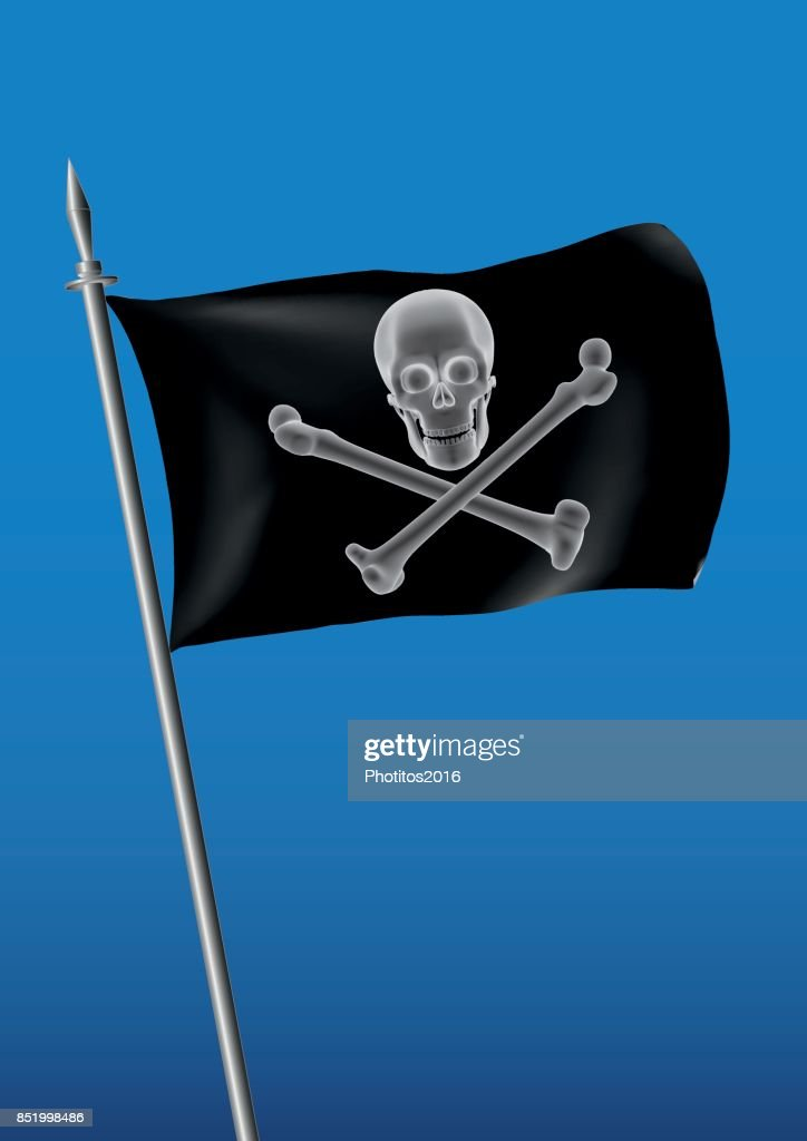 black pirate flag waving on the sky with skull and cross bones jolly roger