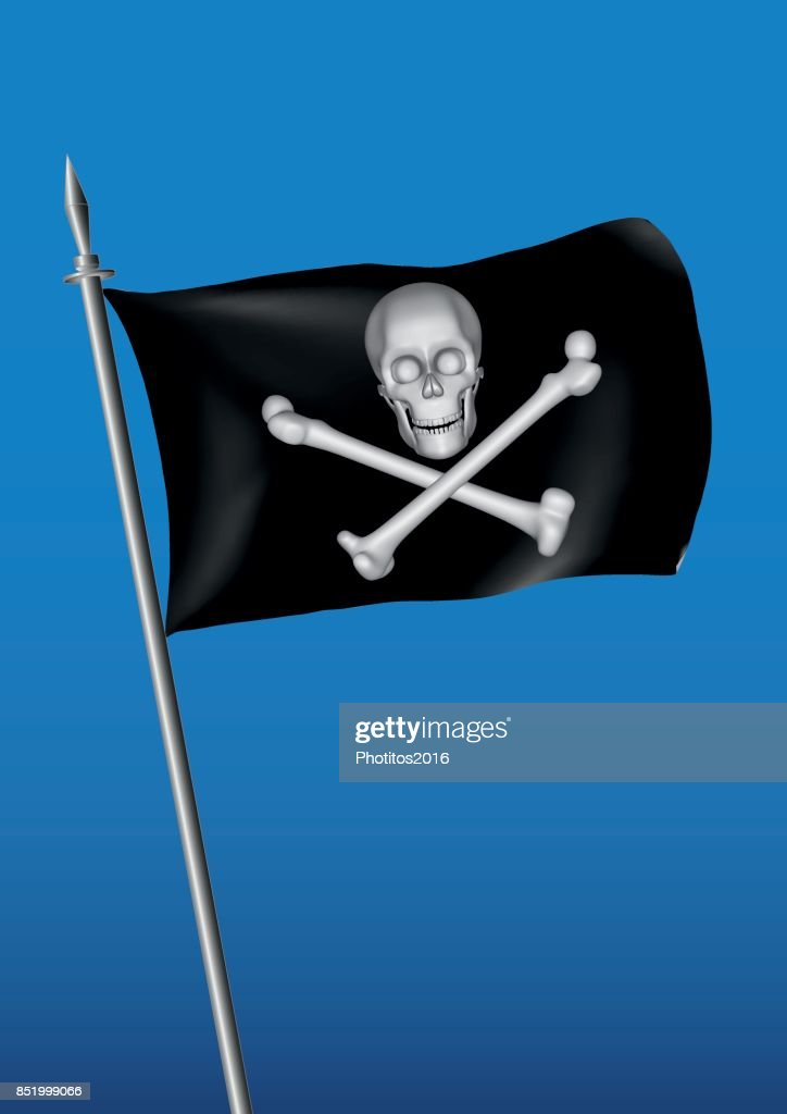 black pirate flag waving on the sky with skull and cross bones jolly roger vertical