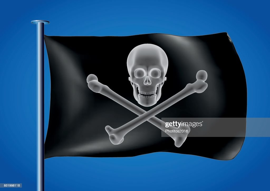 black pirate flag waving on the sky with skull and cross bones