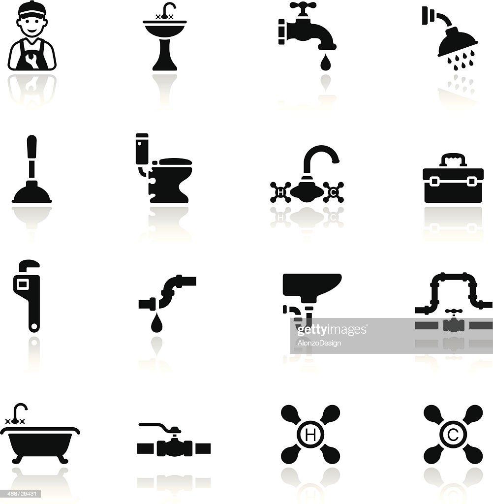 Encanamento Conjunto de ícones pretos : Ilustração