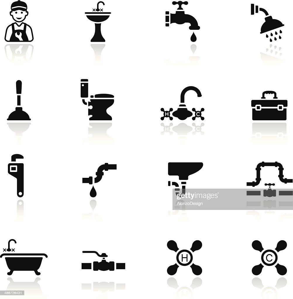 Black Plumbing Icon Set