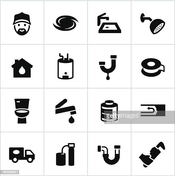 black plumbing icons - boiler stock illustrations, clip art, cartoons, & icons
