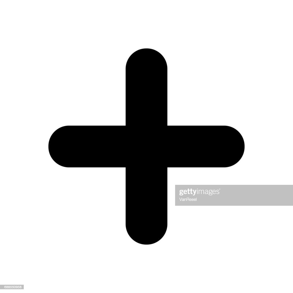 Black plus sign. Positive symbol