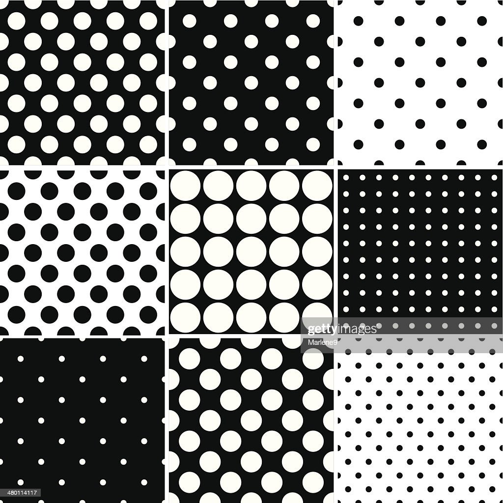 Black Polka Dot Seamless patterns