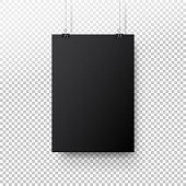 Black poster hanging on binder. Transparent background with mock up empty paper blank. Layout mockup. Vertical template sheet