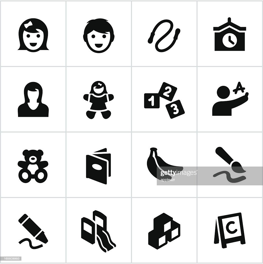Black Preschool and Day Care Icons