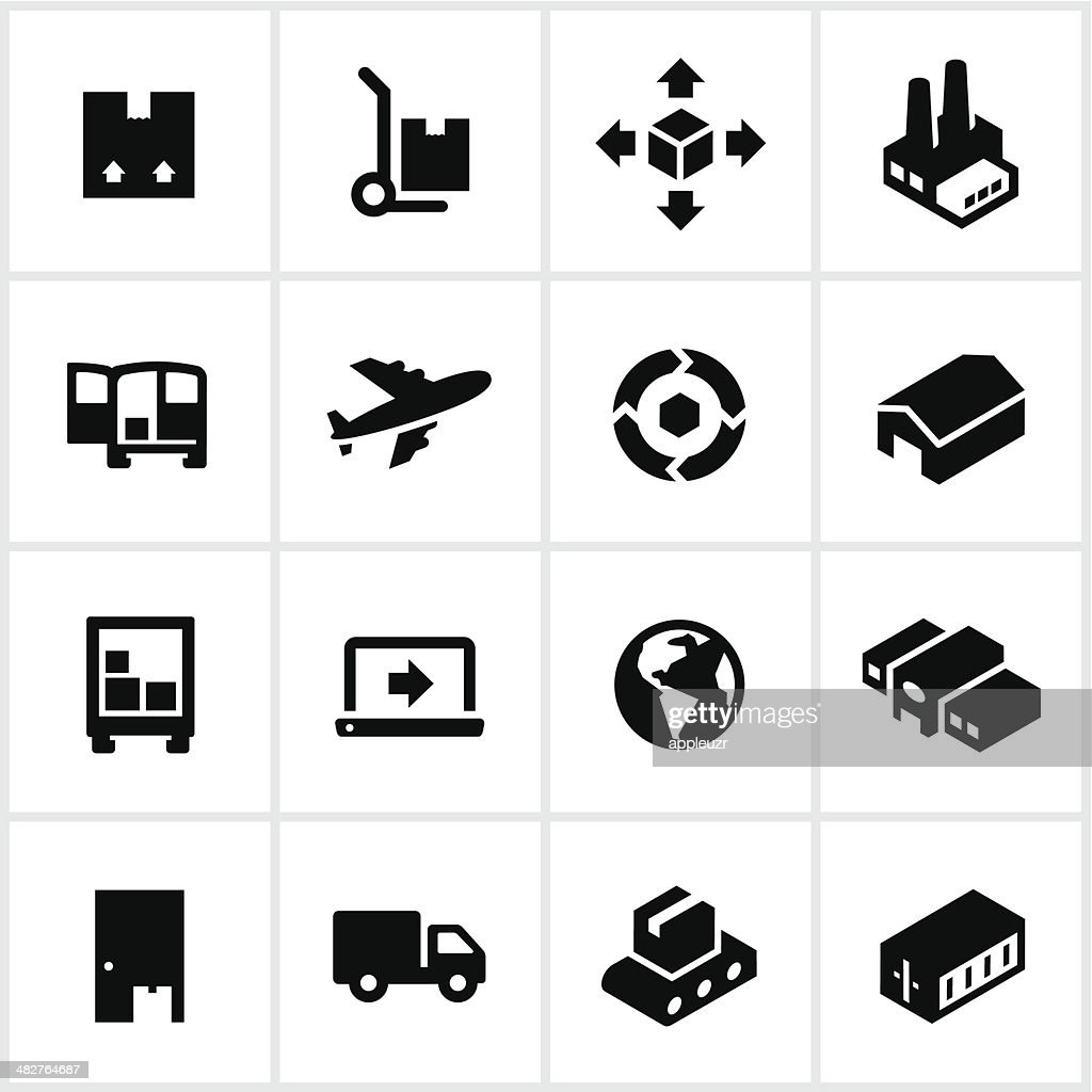 Black Product Shipping Icons