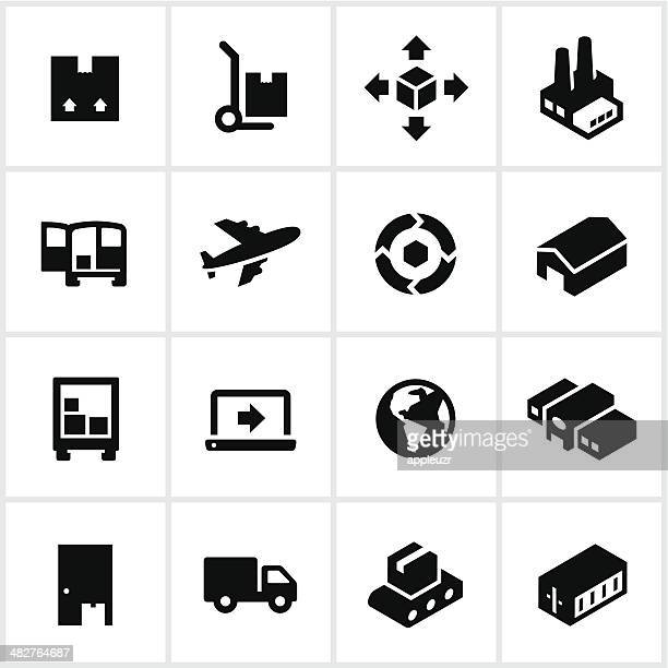 black product shipping icons - hand truck stock illustrations, clip art, cartoons, & icons