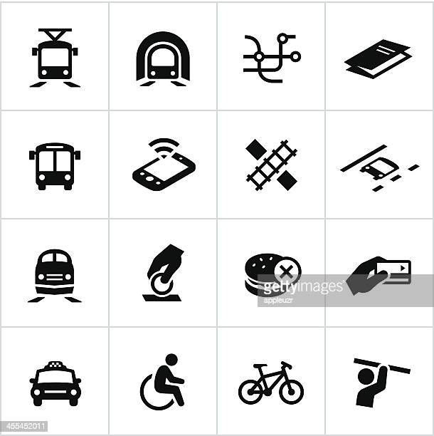 black public transit icons - subway train stock illustrations, clip art, cartoons, & icons