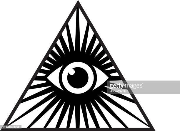 black pyramid eye icon - magic eye stock illustrations