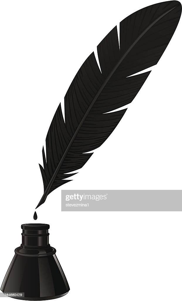Black quill and ink well on white background