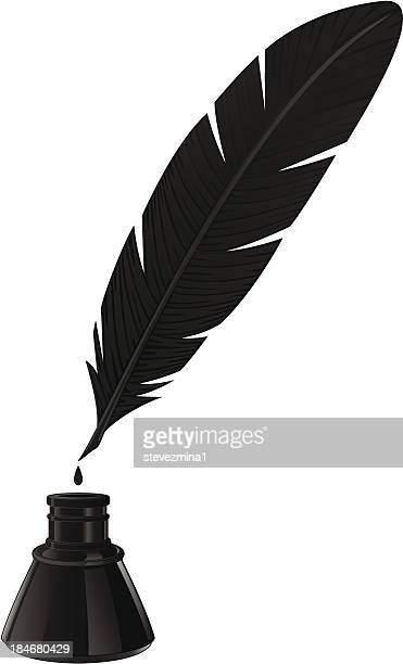 black quill and ink well on white background  - quill pen stock illustrations