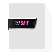 Black realistic curved paper banner. Ribbon. Black friday sale. Vector illustration