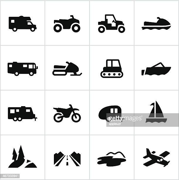 black recreational vehicle icons - motocross stock illustrations, clip art, cartoons, & icons