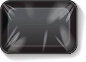 Black Rectangle Blank Styrofoam Plastic Food Tray Container. Vector Mock Up Template