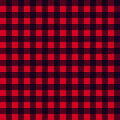 Black Red seamless tablecloth Vector. Seamless traditional tablecloth pattern Vector. Pastel red color square pattern Vector. Geometrical simple square pattern.