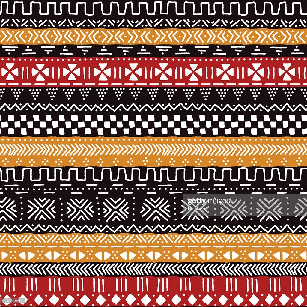 Black red yellow and white traditional african mudcloth fabric seamless