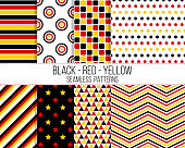 black red yellow geometric seamless pattern set