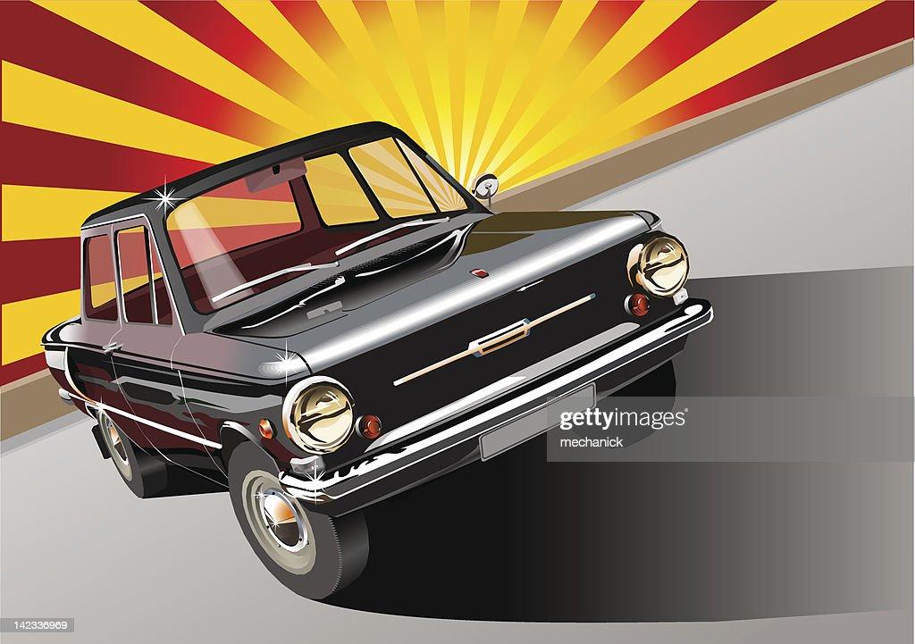 Black retro car 60-s