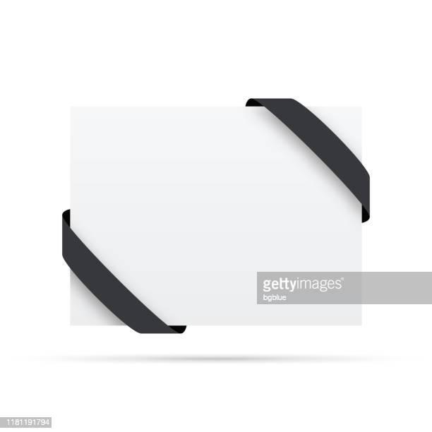 白いラベルの黒いリボン - デザイン要素 - メッセージカード点のイラスト素材/クリップアート素材/マンガ素材/アイコン素材