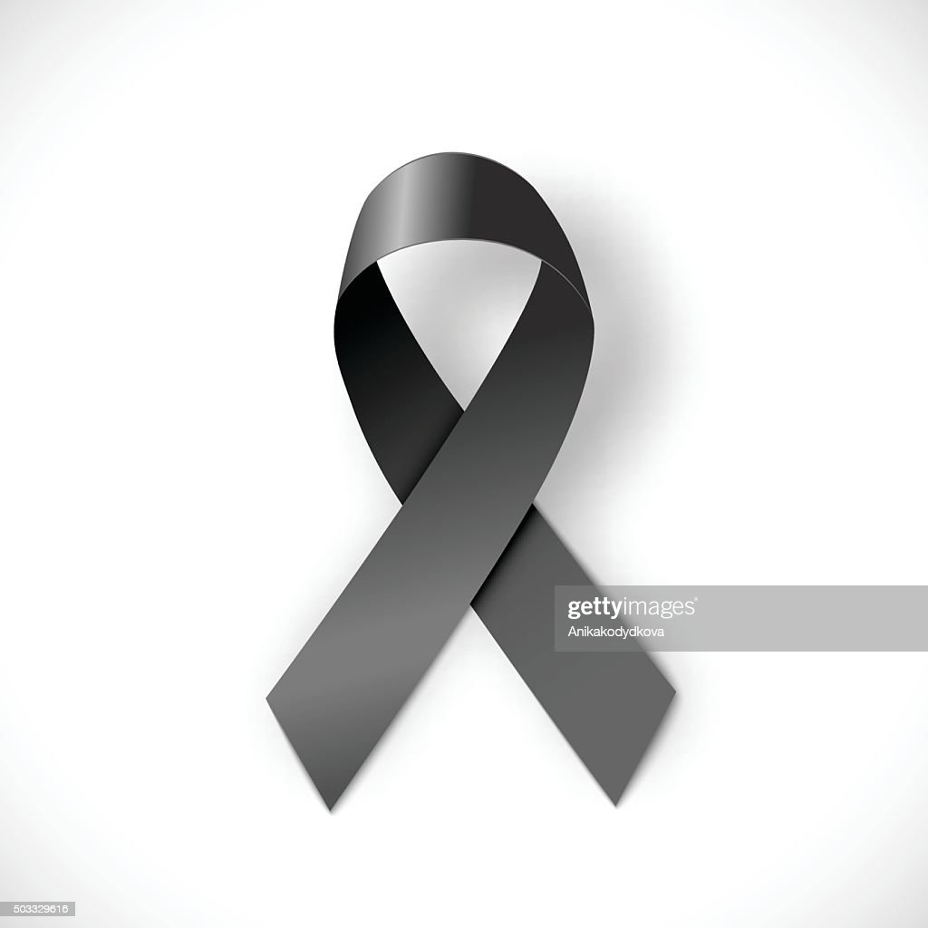 black ribbon  on white background, illustration