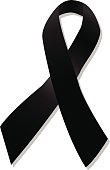 Black ribbon vector on white background