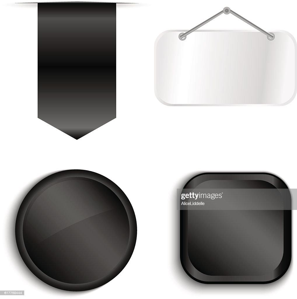 Black Ribbons Set isolated On White Background.