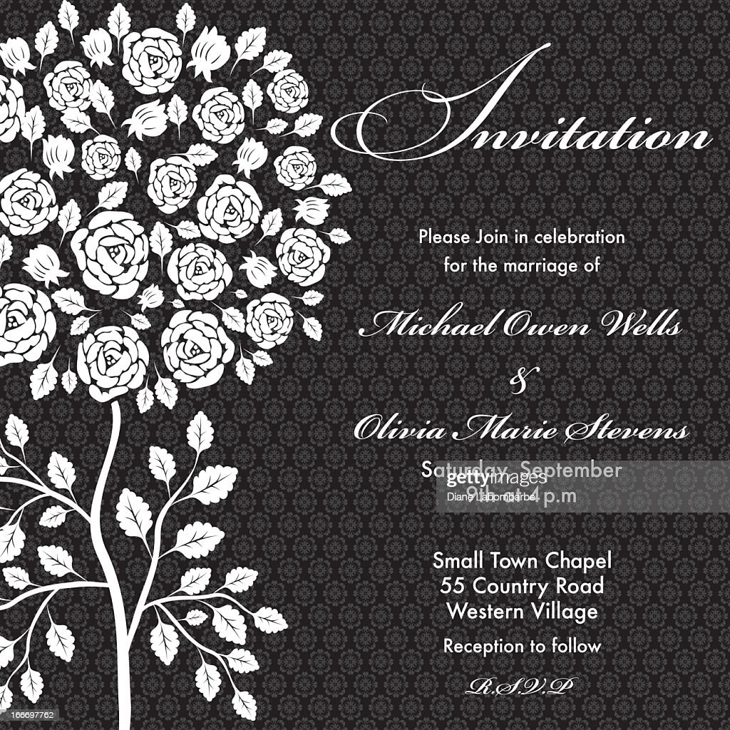 Black rose tree wedding invitation vector art getty images black rose tree wedding invitation vector art stopboris Images