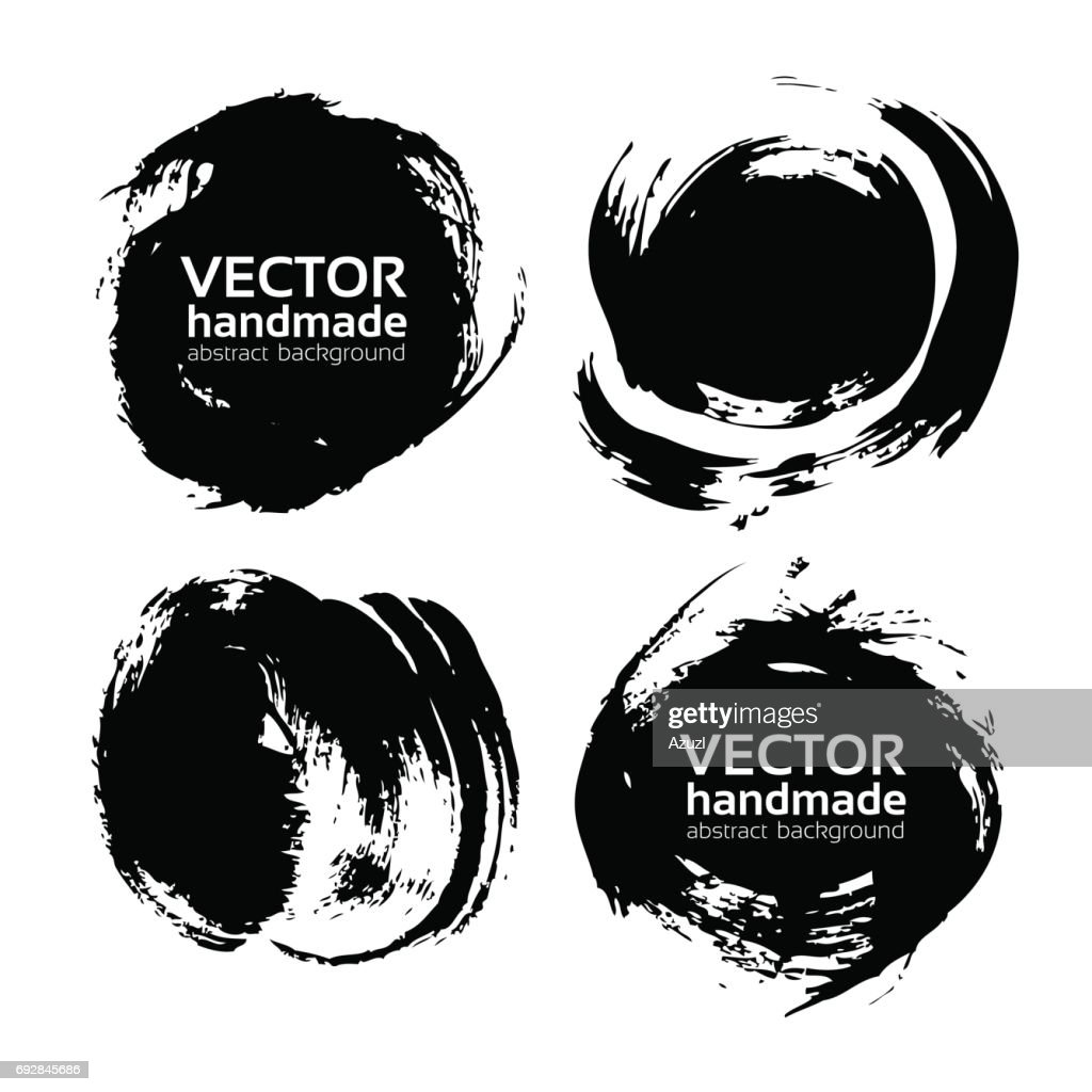 Black round abstract ink smears vector objects isolated on a white background