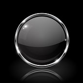 Black round glass button. 3d icon with metal frame