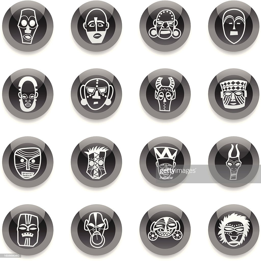 Black Round Icons -  African Masks