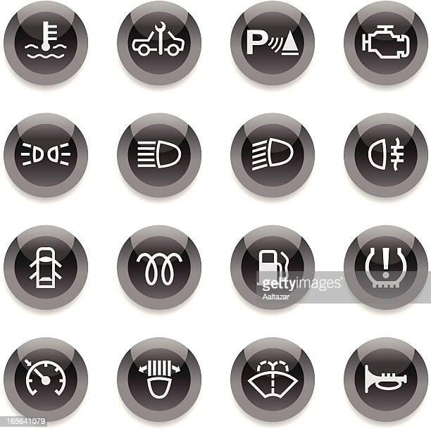 Black Round Icons - Car Control Indicators