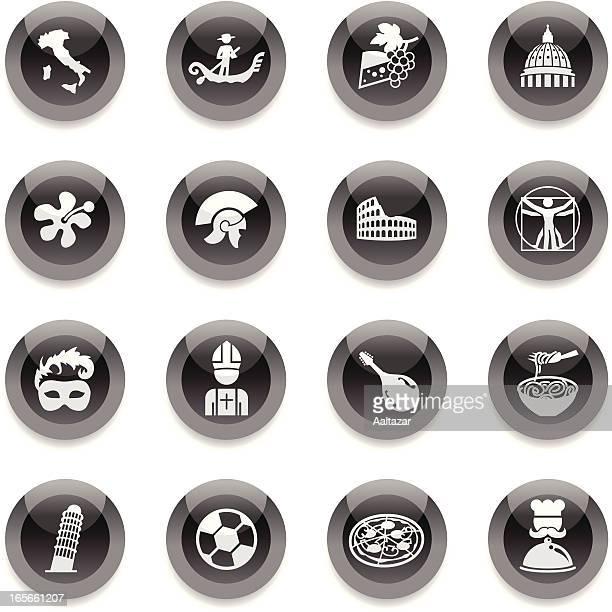 Schwarz Runde Icons-Italien