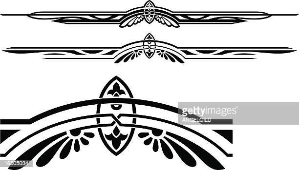 black ruleline designs on a white background - wild west stock illustrations