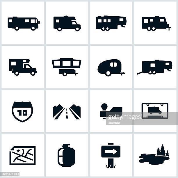 illustrations, cliparts, dessins animés et icônes de noir icônes pour les camping-cars - camping car