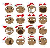 Black Santa Claus Christmas Emoticons
