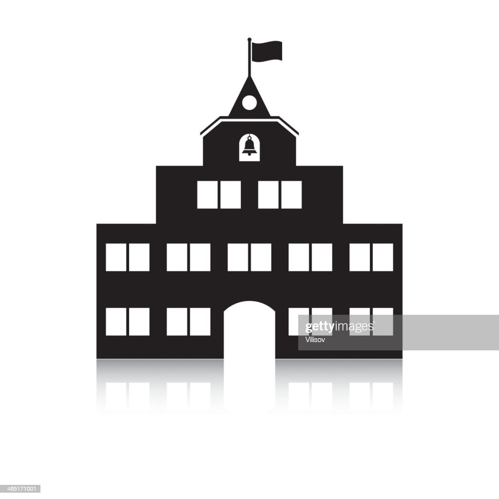 Black schoolhouse on a white background and white windows