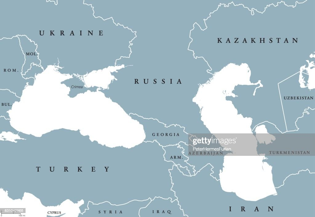 Black Sea and Caspian Sea region political map