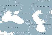 Black Sea and Caspian Sea region political map