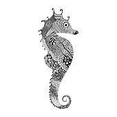Black Sea Horse. Hand Drawn vector illustrati