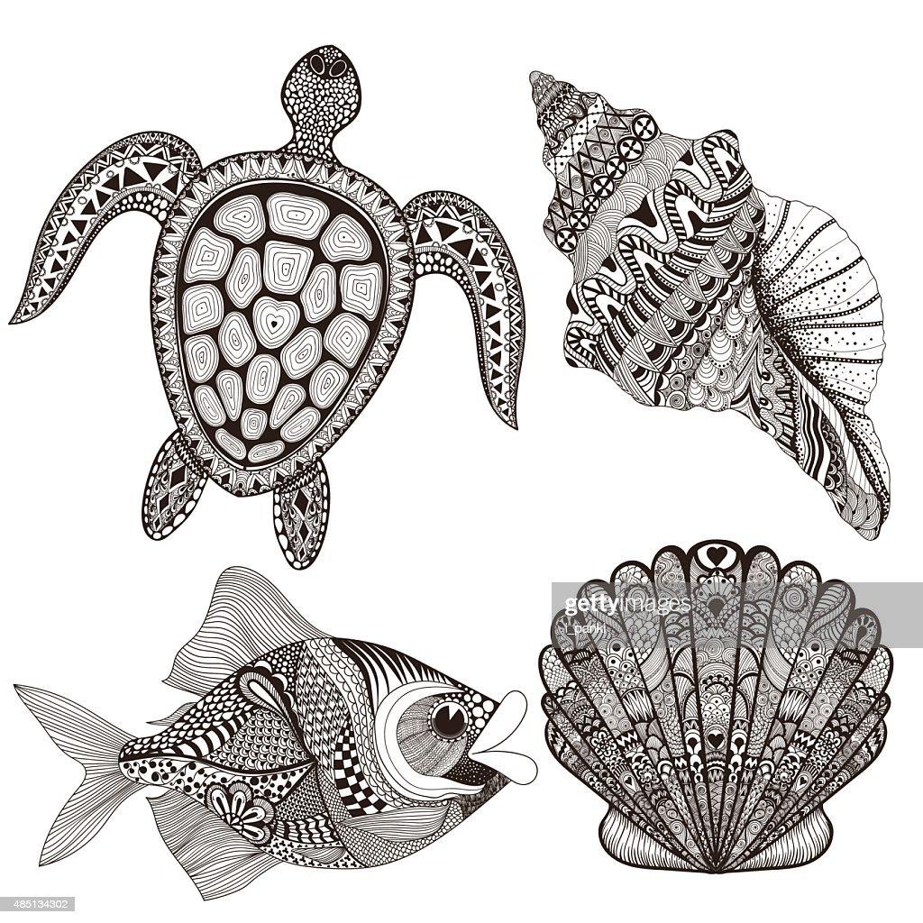 Black sea shells, fish and turtle. Hand Drawn