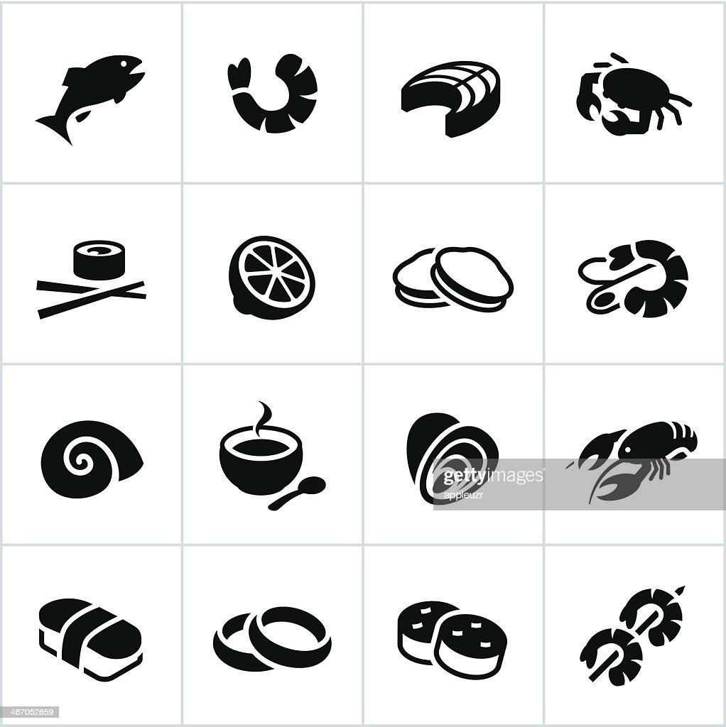 Black Seafood Icons : stock illustration