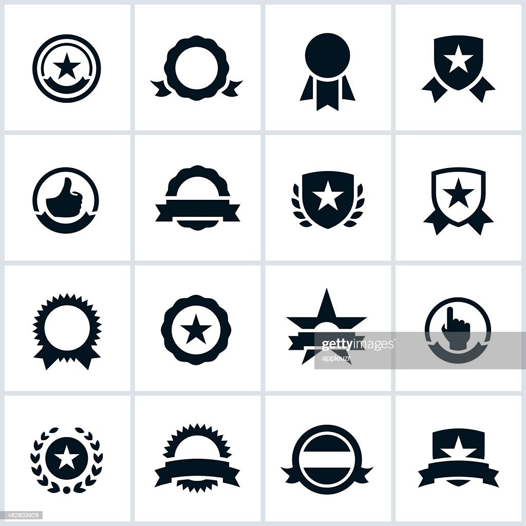 Black Seals and Ribbons Icons