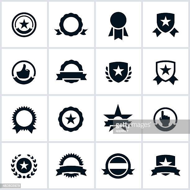 black seals and ribbons icons - medallion stock illustrations, clip art, cartoons, & icons
