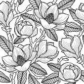 Black seamless pattern with flowers, buds, leaves and branches of magnolia