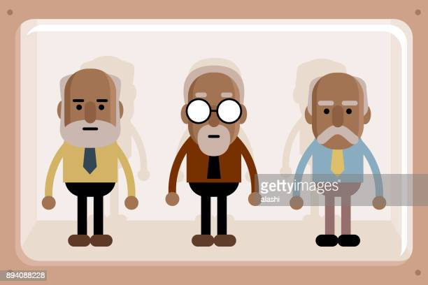 Black senior business men in window box