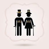 Black senior male and female couple symbol icons with hats and walking sticks on gray gradient background