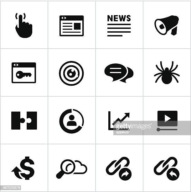 black seo icons - online advertising stock illustrations, clip art, cartoons, & icons