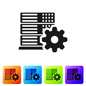 Black Server setting icon isolated on white background. Set icon in color square buttons. Vector Illustration